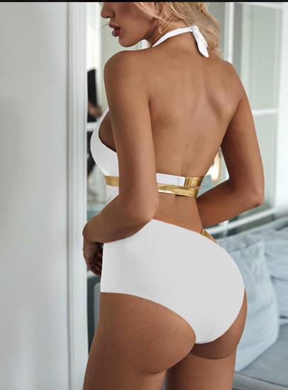 White and Gold swim wear back